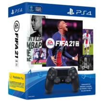Playstation 4 (PS4) Dualshock 4 kontroller (Fekete) + FIFA 21 (letöltőkód)